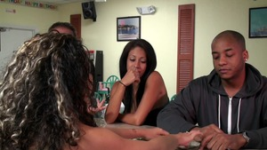 MoneyTalks: Bald Nychole Mac in company with JMac pussy eating