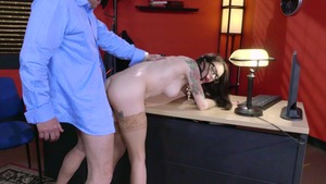 Big Tits at Work - Business woman Anna De Ville throat fucking