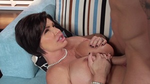 Mommy Got Boobs: Tanned Shay Fox sucking cock cowgirl sex