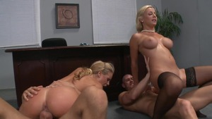 Big Tits at Work - Business woman Lexi Swallow foursome