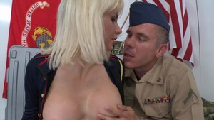 Big Tits in Uniform - Margo Russo and Mick Blue POV blowjob
