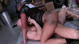 Big Tits in Uniform: Police chick Carmen Jay reverse cowgirl