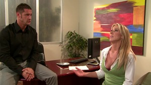 Big Tits at Work: Carolyn Reese wearing boxers reverse cowgirl