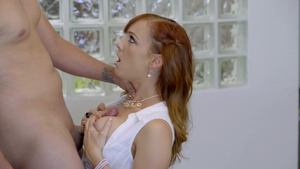 MomsTeachSex: Small boobs Joseline Kelly threesome throat fuck